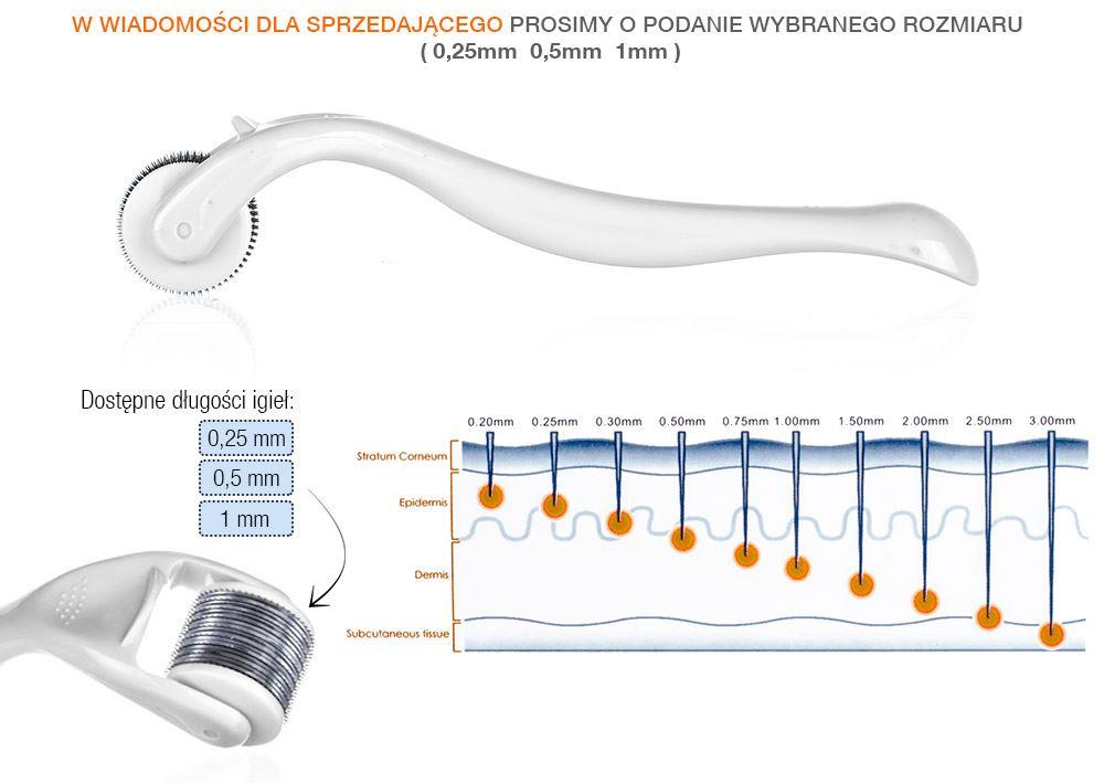 Derma Roller do mezoterapii mikroigłowej - rzut z boku